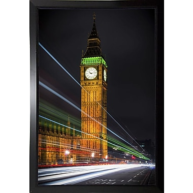 Ebern Designs 'Streams Over Westminster' Photographic Print; Black Plastic Framed Paper