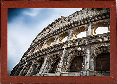 Ebern Designs 'Colosseo' Photographic Print; Red Mahogany Wood Medium Framed Paper