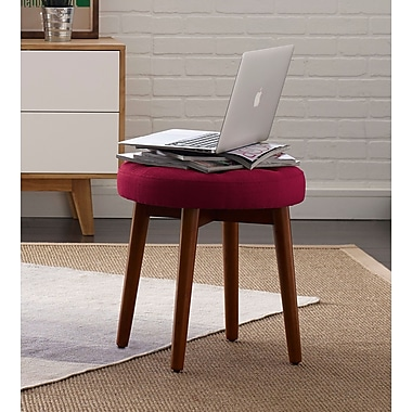 Elle Decor Penelope Round Tufted Accent Stool; Red Sangria