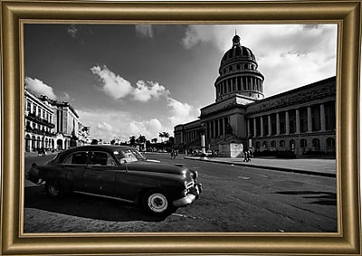 Ebern Designs 'Old Car Black and White' Photographic Print; Bistro Gold Framed Paper