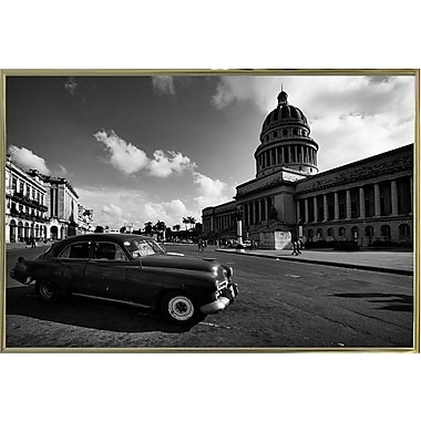 Ebern Designs 'Old Car Black and White' Photographic Print; Gold Metal Framed Paper