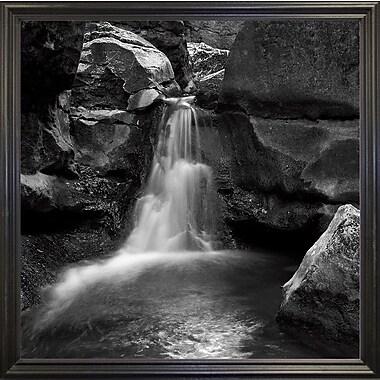 Ebern Designs 'Silent Stream Black and White' Photographic Print; Black Wood Grande Framed Paper