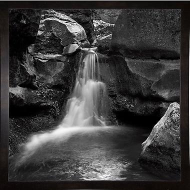 Ebern Designs 'Silent Stream Black and White' Photographic Print; Black Wood Medium Framed Paper
