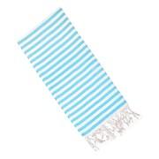 Latitude Run Striped Cotton Hand Towel; Turquoise