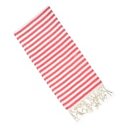 Latitude Run Striped Cotton Hand Towel; Red