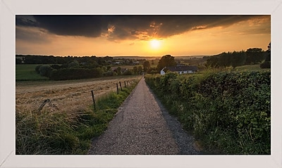 East Urban Home 'Road to Sunset Valley' Photographic Print; White Wood Medium Framed Paper