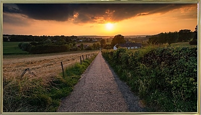 East Urban Home 'Road to Sunset Valley' Photographic Print; Gold Metal Framed Paper