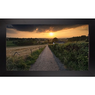 East Urban Home 'Road to Sunset Valley' Photographic Print; Black Wood Large Framed Paper