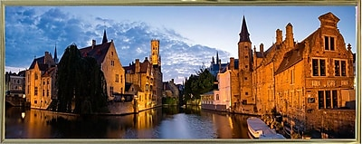 East Urban Home 'Panorama Brugge' Photographic Print; Gold Metal Framed Paper