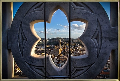 East Urban Home 'Over the Tower' Photographic Print; Gold Metal Framed Paper