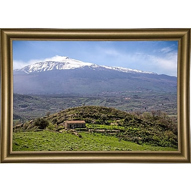 East Urban Home 'Quiet Mount Etna' Photographic Print; Bistro Gold Framed Paper