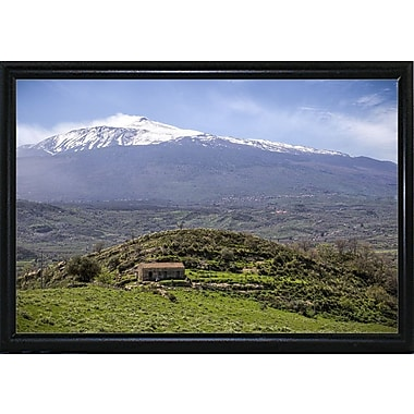 East Urban Home 'Quiet Mount Etna' Photographic Print; Black Metal Flat Framed Paper