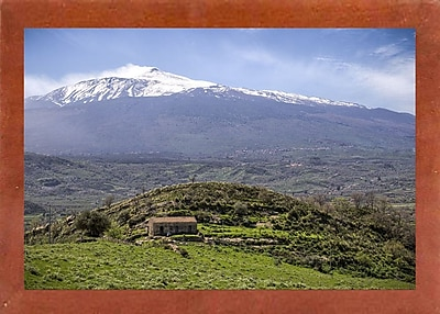 East Urban Home 'Quiet Mount Etna' Photographic Print; Canadian Walnut Wood Medium Framed Paper