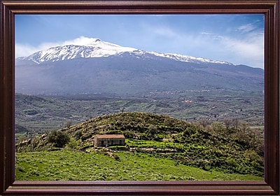 East Urban Home 'Quiet Mount Etna' Photographic Print; Cherry Wood Grande Framed Paper