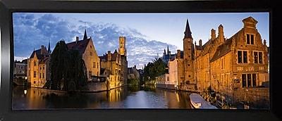 East Urban Home 'Panorama Brugge' Photographic Print; Black Plastic Framed Paper