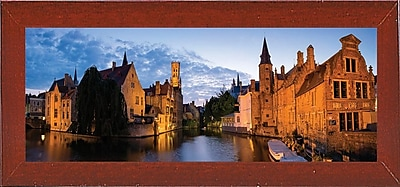 East Urban Home 'Panorama Brugge' Photographic Print; Red Mahogany Wood Medium Framed Paper