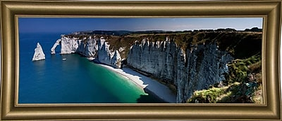 East Urban Home 'Panorama Etretat' Photographic Print; Bistro Gold Framed Paper