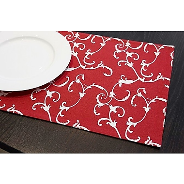 Darby Home Co Riggins Damask Reversible Placemat (Set of 4); Red