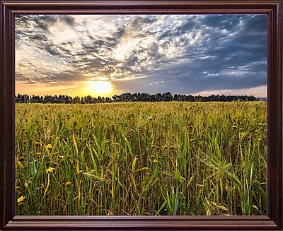 Winston Porter 'Final Sunset' Photographic Print; Cherry Wood Grande Framed Paper