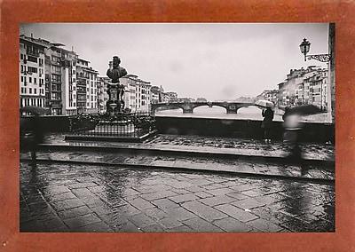 Winston Porter 'It's Raining' Photographic Print; Canadian Walnut Wood Medium Framed Paper