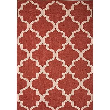 Darby Home Co Williamsburg Red/Ivory Indoor/Outdoor Area Rug; 4' x 5'3''