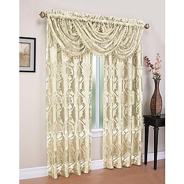 Astoria Grand Weinstock 5 Piece Damask Sheer Rod Pocket Curtain Panels Set; Beige