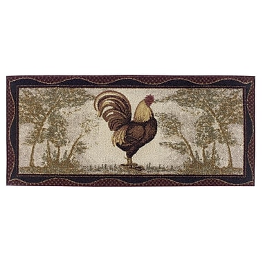 August Grove Frankfort Rooster Novelty Kitchen Rug; Rectangle 1'8'' x 3'8''