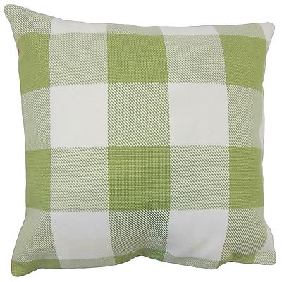 August Grove Ronzi Plaid Down Filled 100pct Cotton Lumbar Pillow; Green
