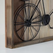 Williston Forge Metal Bicycle Planked Wood Shadow Box Sculpture Wall D cor