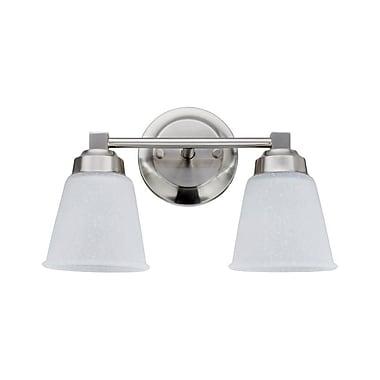 Charlton Home Farnham Metal 2-Light Vanity Light; Satin Nickel