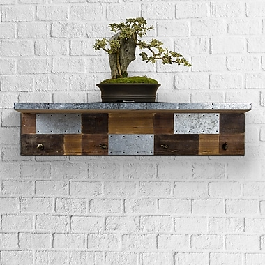17 Stories Baba Rustic Wood Galvanized Metal Patchwork Farmhouse 3 Piece Wall Shelf Set
