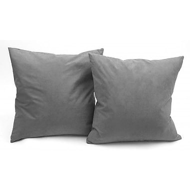 17 Stories Christoph Microsuede Couch Throw Pillow (Set of 2); Gray