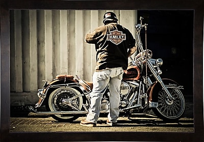 Ebern Designs 'The Biker' Photographic Print; Cafe Espresso Wood Framed Paper