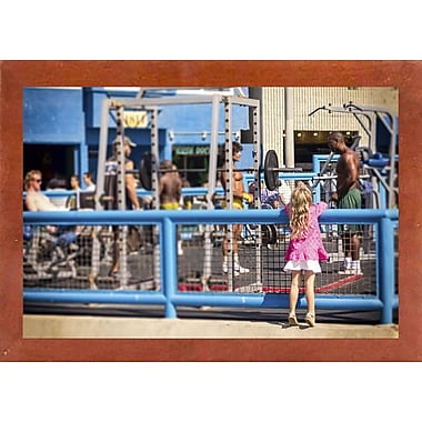 Ebern Designs 'Curiosity, Muscle Beach' Photographic Print; Canadian Walnut Wood Medium Framed Paper