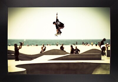 Ebern Designs 'The Great Jump' Photographic Print; Black Wood Large Framed Paper