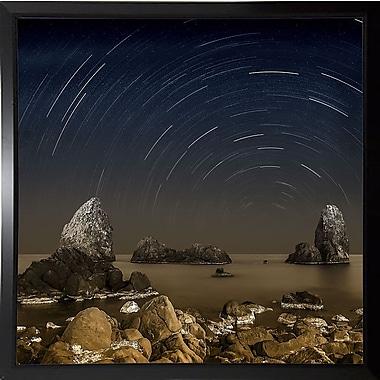 Ebern Designs 'Starry Night' Graphic Art Print; Black Plastic Framed Paper