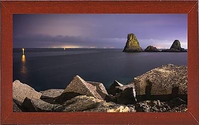 Ebern Designs 'Acitrezza' Photographic Print; Red Mahogany Wood Medium Framed Paper