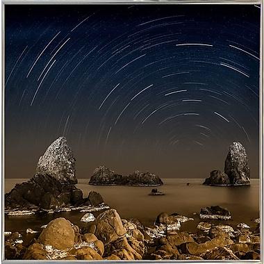 Ebern Designs 'Starry Night' Graphic Art Print; Silver Metal Framed Paper