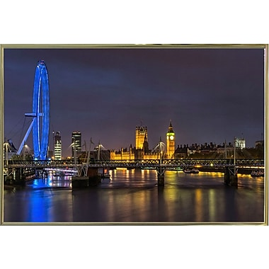 Ebern Designs '14' Photographic Print; Gold Metal Framed Paper