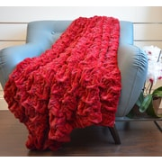 Ebern Designs Eddings Plush Chunky Quilted Throw Blanket; Burgundy
