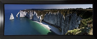 East Urban Home 'Panorama Etretat' Photographic Print; Black Plastic Framed Paper