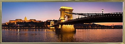 East Urban Home 'Panorama Budapest Chain Bridge' Photographic Print; Gold Metal Framed Paper