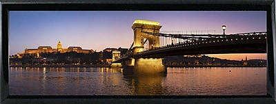 East Urban Home 'Panorama Budapest Chain Bridge' Photographic Print; Shiny Black Metal Framed Paper