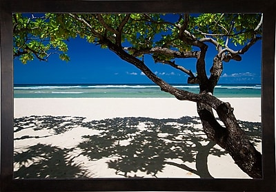 East Urban Home 'Shadows on the Beach' Photographic Print; Cafe Espresso Wood Framed Paper