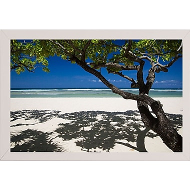 East Urban Home 'Shadows on the Beach' Photographic Print; White Wood Medium Framed Paper