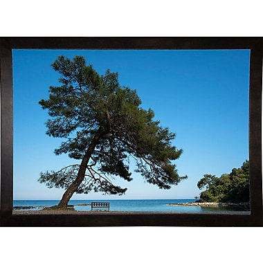 East Urban Home 'Tree at the Sea' Photographic Print; Cafe Espresso Wood Framed Paper