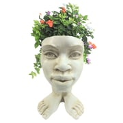 HomeStyles Muggly The Face Auntie Kayla Statue Planter; Antique White