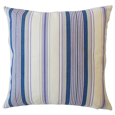 Longshore Tides Imala Striped Down Filled 100pct Cotton Lumbar Pillow; Plum