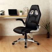 Orren Ellis Faux Leather High-Back Swivel Video Racing Game Chair; Black