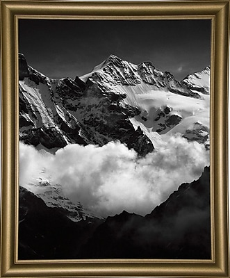Union Rustic 'Mountains Black and White' Photographic Print; Bistro Gold Framed Paper